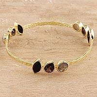 Gold plated multi-gemstone bangle bracelet, 'Harmonious Sparkle'