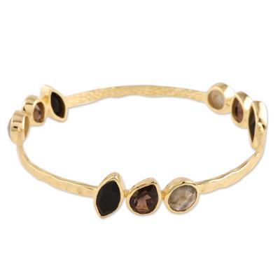 Gold plated multi-gemstone bangle bracelet, 'Harmonious Sparkle' - Gold Plated Multi-Gemstone Bangle Bracelet from India