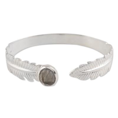 Labradorite cuff bracelet, 'Caressing Leaf' - Leafy Labradorite Cuff Bracelet from India