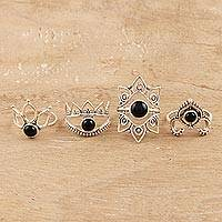 Onyx cocktail rings, 'Magic Quartet' (set of 4) - Onyx Cocktail Rings from India (Set of 4)