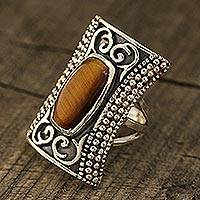 Tiger's eye cocktail ring, 'Regal Luxury' - Tiger's Eye Cocktail Ring Crafted in India