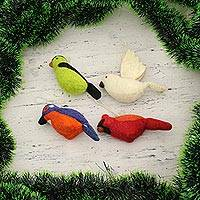 Wool felt ornaments, 'Winter Birds' (set of 4) - Assorted Wool Felt Bird Ornaments from India (Set of 4)