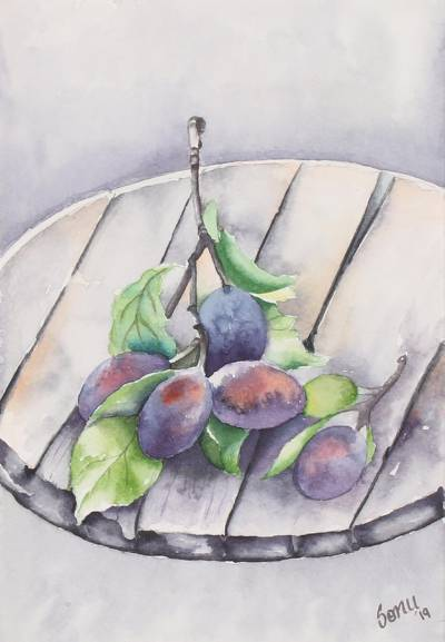 'Black Currant' - Signed Still Life Painting of Currants from India