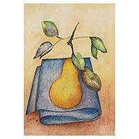 'Pear' - Realist Still-Life Painting of a Pear from India