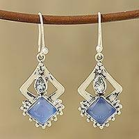 Chalcedony and blue topaz dangle earrings, 'Blue Creativity' - Chalcedony and Blue Topaz Dangle Earrings from India