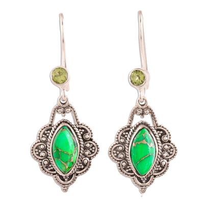 Peridot and Green Composite Turquoise Dangle Earrings