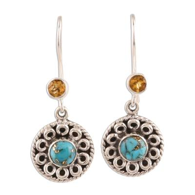 Circular Citrine and Composite Turquoise Dangle Earrings
