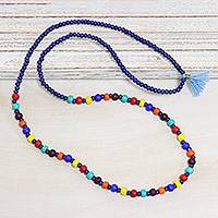 Wood beaded long necklace, 'Rainbow Fusion' - Colorful Haldu Wood Beaded Long Necklace from India