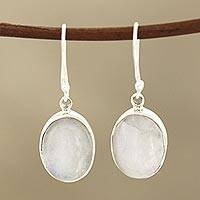 Rainbow moonstone dangle earrings, 'Eternal Ovals' - Natural Rainbow Moonstone Dangle Earrings from India