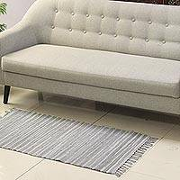 Recycled cotton area rug, 'Subdued Delight' (2x4.5) - Grey Recycled Cotton Area Rug from India (2x4.5)