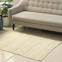 Recycled cotton area rug, 'Subdued Style' (3x4.5) - Beige and Azure Recycled Cotton Area Rug from India (3x4.5)