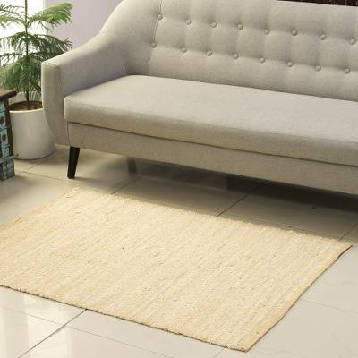 Recycled cotton area rug, 'Diamond Subtlety' (3x4.5) - Buff and Ivory Recycled Cotton Area Rug from India (3x4.5)