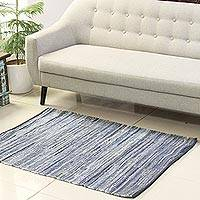 Recycled cotton area rug, 'Delight of Blue' (3x4.5) - Blue Recycled Cotton Area Rug from India (3x4.5)