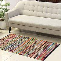 Recycled polyester and jute blend area rug, 'Eco Rainbow' (3x5) - Recycled Polyester and Jute Blend Area Rug from India (3x5)