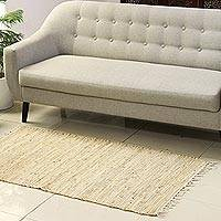 Jute and leather area rug, 'Subdued Charm' (2.5x5) - Beige Jute and Leather Area Rug from India (2.5x5)