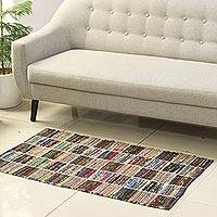 Recycled cotton area rug, 'Rajasthan Trance' (2x4.5) - Multicolored Recycled Cotton Area Rug from India (2x4.5)