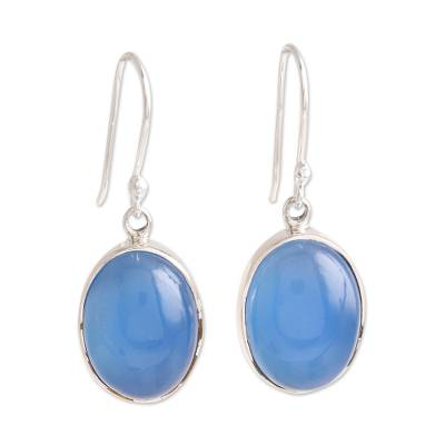 Oval Blue Chalcedony Dangle Earrings from India
