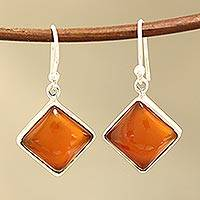 Carnelian dangle earrings, 'Honey Squares' - Square Carnelian Dangle Earrings from India