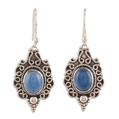 Blue Chalcedony Dangle Earrings Crafted in India