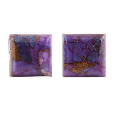 Square Purple Composite Turquoise Stud Earrings from India