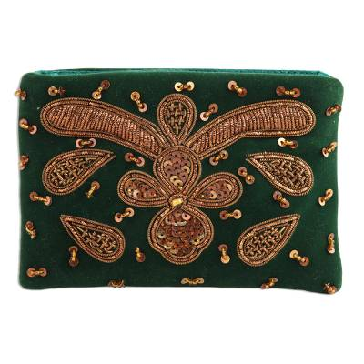 Metallic and Green Glass Beaded Clutch from India
