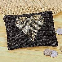 Glass beaded clutch, 'Golden Heart' - Gold-Tone Heart Motif Glass Beaded Clutch from India