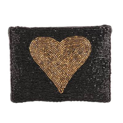 Gold-Tone Heart Motif Glass Beaded Clutch from India