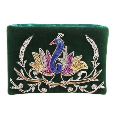 Peacock-Themed Glass Beaded Clutch from India