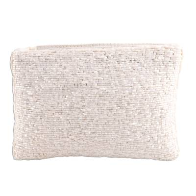 Glass Beaded Clutch in White from India