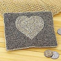 Glass beaded clutch, 'Love in the Heart' - Silver Heart Motif Glass Beaded Clutch from India