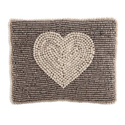 Silver Heart Motif Glass Beaded Clutch from India