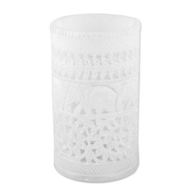 Alabaster decorative vase, 'Elephant March' - Jali Elephant Pattern Cylindrical Alabaster Decorative Vase