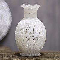Alabaster decorative vase, 'Royal March' - Round Jali Pattern Alabaster Decorative Vase from India