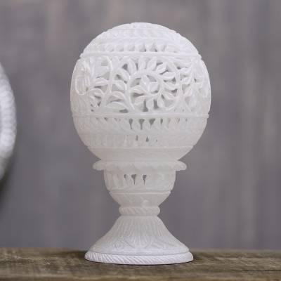 Alabaster tealight holder, 'Vine Dome' - Vine Pattern Alabaster Tealight Holder from India