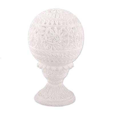 Alabaster tealight holder, 'Vine Dome' - Vine Pattern Alabaster Tealight Holder from India