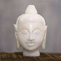 Alabaster sculpture, 'Calming Buddha' - Natural Alabaster Buddha Head Sculpture from India
