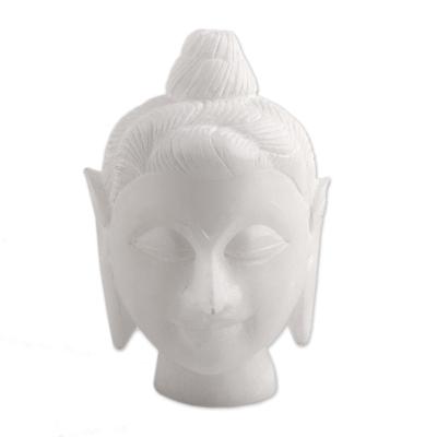 Alabaster sculpture, 'Calming Buddha' - Natural Alabaster Buddha Head Sculpture from India