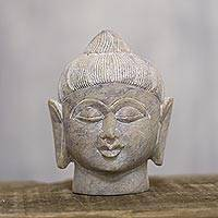 Soapstone sculpture, 'Calming Buddha' - Natural Soapstone Buddha Head Sculpture from India