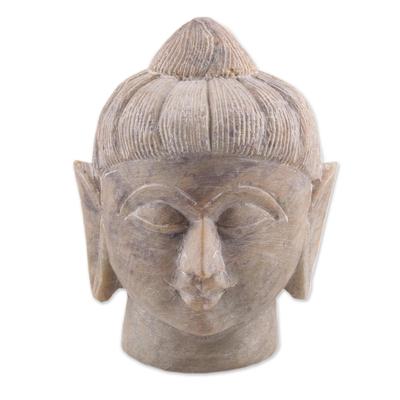 Soapstone sculpture, 'Calming Buddha' - Natural Soapstone Buddha Head Sculpture from India