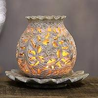 Soapstone tealight holder, 'Light Bouquet' - Floral Soapstone Tealight Holder from India
