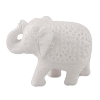 Alabaster sculpture, 'Elephant Interior' - Jali Elephant Alabaster Sculpture from India