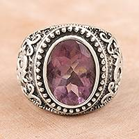 Amethyst single-stone ring, 'Om Glitter' - Om-Themed Amethyst Single-Stone Ring from India