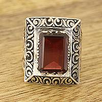 Men's garnet ring, 'Rectangle Glisten'