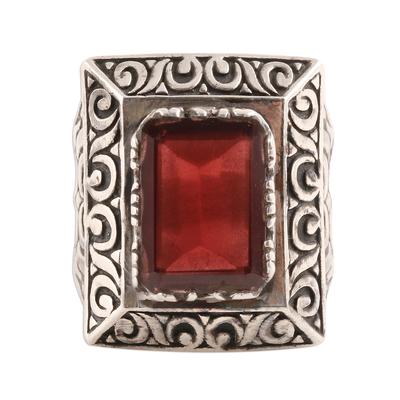 Men's garnet ring, 'Rectangle Glisten' - Men's Rectangular Garnet Ring from India