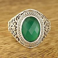 Onyx single-stone ring, 'Forest Checkerboard' - 6-Carat Green Onyx Single-Stone Ring from India