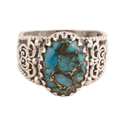 Swirl Pattern Composite Turquoise Cocktail Ring from India