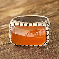 Men's onyx ring, 'Sunset Vines' - Men's Orange Onyx Ring Crafted in India