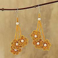 Cotton dangle earrings, 'Marigold Bouquet' - Floral Cotton Dangle Earrings in Marigold from India