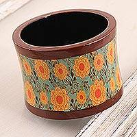 Wood bangle bracelet, 'Spring Breeze' - Floral Printed Haldu Wood Bangle Bracelet from India