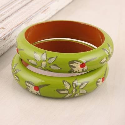 Wood bangle bracelets, 'Lime Bloom' (pair) - Floral Haldu Wood Bangle Bracelets in Lime from India (Pair)